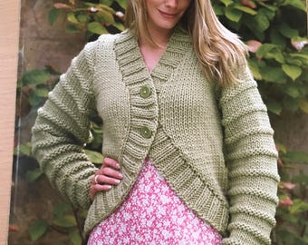 Ladies Cardigan and Gilet Knitting Pattern, King Cole Knitting Pattern, Ladies Long Sleeve Cardigan, Ladies Gilet, Sleeveless Cardigan, 3173