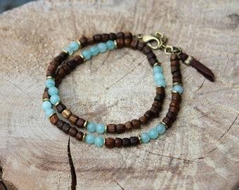 Boho bracelet, dainty bracelet two laps, Rainbow bracelet amazonite and wood, nature nomadic ethnic bracelet - thin wrist