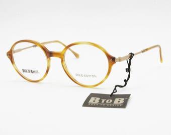 Round blond eyeglasses frame Safilo Back to Basic mod. BTOB 6260 // Vintage 1990 New Old Stock designer glasses