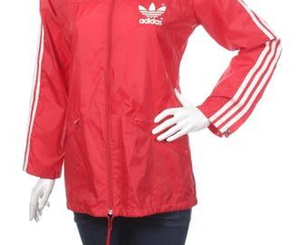 Rare Vintage 80s Adidas Women's Trefoil Shiny Nylon Winbreaker jacket Red/White Size S