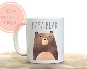 Papa bear mug, Papa bear gift, Papa bear present, Papa bear, Bear coffee mug, Mama bear and Papa Bear, Pregnancy announcement grandpa