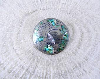 Vintage Taxco Pendant / Brooch ... 1960s Taxco Sterling Silver and Abalone Inlay Round Pendant / Brooch