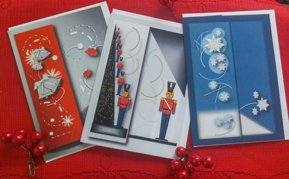 3 cards of holiday Christmas/discount for 3 Christmas cards with Christmas bookmarks/cards / Christmas / snowflakes/snow wooden soldiers