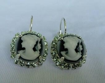swarovski peridot Crystal cameo earrings