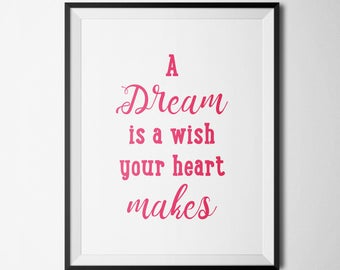 A Dream is a WishYour Heart Makes Princess Quote Nursery pink Printable Girl Room Decor Typography Quote Cinderella quote