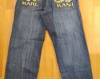 KARL KANI jeans, vintage baggy Kani jeans loose distressed blue 90s hip-hop clothing, oldschool 1990s hip hop, OG, gangsta rap, size W 30