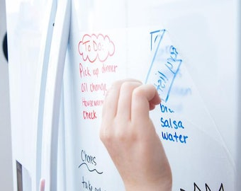 Clear Dry Erase Contact Paper 6.5FT Transparent Sticker Wall Decal - Bonus 3 Dry Erase Markers & Eraser Cloth Included