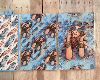 Traveler's Notebook tri-fold Dashboard Boho Girl