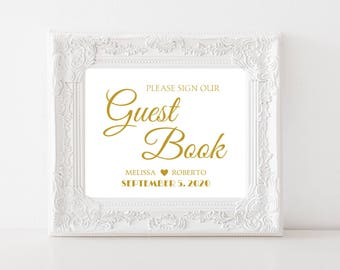Please Sign Our Guest Book Printable Gold Wedding Sign Personalized Wedding Sign PDF Reception Sign Custom Wedding Decor #CWS304_2611