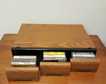 Vintage Three Drawer 42 Ct Cassette Tape Holder Storage Box Holder Organizer