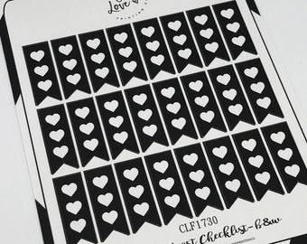 Mini Heart Checklist B&W - Planner Stickers