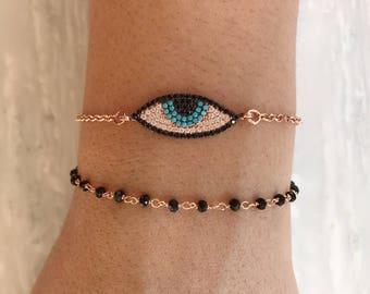 Evil Eye Bracelet, CZ Evil Eye Charm, Rosary Bracelet, Protection Bracelet, Rose Gold Jewelry, Made from Sterling Silver 925.