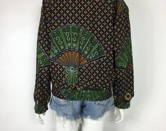 Vtg 70s 80s ethnic batik op art fan novelty cropped jacket