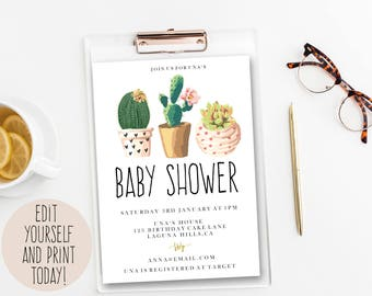 Cactus Baby Shower Invitation, editable Baby Shower Invitation Template, DIY instant download, Baby Shower Invitation, desert,