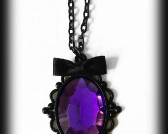 Gothic Victorian Necklace, Purple Cabochon Necklace, Gothic Jewelry, Gothic Pendant, Alternative Jewelry, Handmade Jewellery, Gothic Gift
