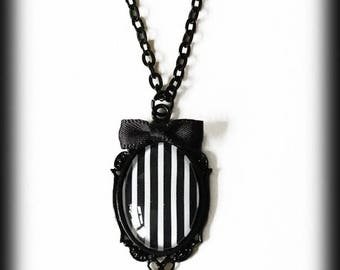 Gothic Steampunk Necklace, Black and White Stripes, Beetlejuice, Gothic Jewelry, Glass Cameo Pendant, Alternative Jewelry, Gothic Gift