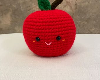 Crocheted Stuffed Apple Toy, Baby and Children's Toys, MADE TO ORDER, Optional Rattle, Handmade, Amigurumi, Play Food
