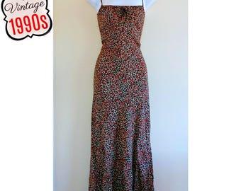 Vintage Slip Dress 90s Grunge Ditsy Floral Keyhole Black Red Size Medium