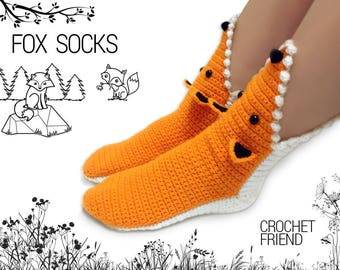 Crochet Fox Slippers Socks / Unisex Funny Warm Home Shoes / Adult size