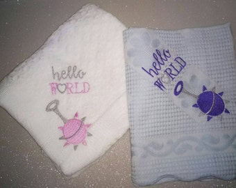 Embroidered baby shawls. New baby, twins, rattle, custom. Made in Scotland. Great gift.