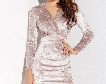 Light pink Midi Prom dress velvet Holiday Dress velvet Dress Light Gray Cocktail Dress Party dress Olive Evening dress Midi dress bridesmaid