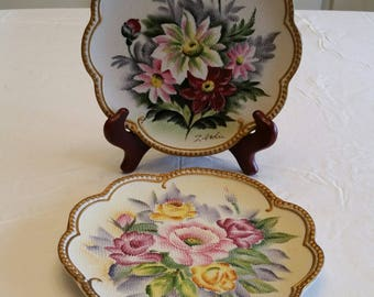 "2 antique signed japan ceramic floral flower plates 7 5/8"" - wall hanging beaded design gold color trim - lilies paeony iris roses scalloped"