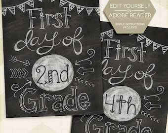 """First Day Of School Sign Chalkboard Poster Editable Printable Instant Download 8.5""""x11"""" Any Grade 1st grade 2nd 3rd 4th 5th 6th 7th 8th 9th"""