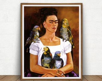 Frida Kahlo Me And My Parrots, Frida Kahlo Printable, Yo y Mis Pericos, Frida Kahlo Self Portrait, Mexican Art Reproduction, Boho Decor