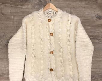Vintage White Carducci Knit Pom Pom Sweater Size Medium