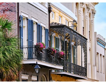 New Orleans photography, French Quarter, NOLA architecture, travel photography, fine art print, New Orleans home decor, lace iron balcony