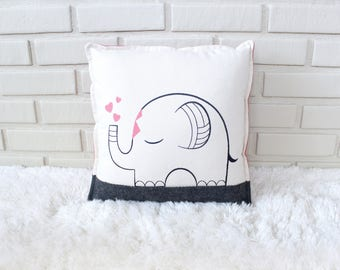 Elephant Pillow / Embroidered Pillow Cover / Safari Decor / Safari Nursery / Circus Nursery / Embroidery Art