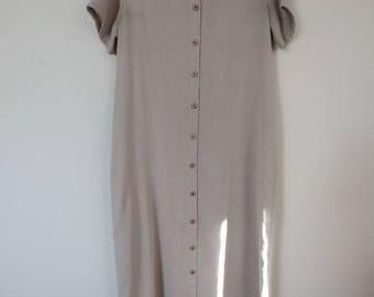 Vintage Oatmeal Button Dress