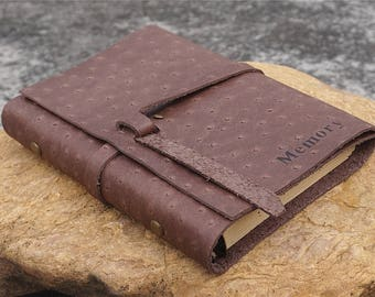 Genuine leather bound journal, Rings dairy notebook, leather travel journal