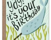 Narwhal Birthday Card   Happy Birthday   Under the Sea   Nautical Birthday