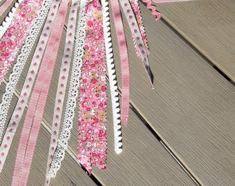 Dream catcher, dreamcatcher, wall decor girl room, raspberry pink, twine, ivory and liberty.