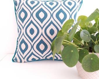 Scandinavian Cushion cover 40 x 40 cm geometiques ovals Scandinavian vintage style blue color