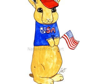 Rabbit Print American Gift from Original Painting STAR SPANGLED BUNNY, American Flag Art, United States Picture, Patriotic Decor, Usa Art