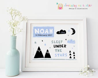 New Baby Print, Birth Announcement, Baby Monochrome, Nursery Art, PERSONALISED Baby Gift, Baby Boy Gift, Modern Baby, New Baby Gift