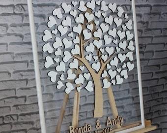 Wedding guest book alternative 3D wedding guest book Glass guest book tree White wedding guest book frame Wedding gift Anniversary gift