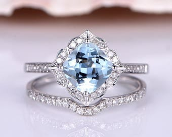 2pcs Aquamarine Engagement Ring 7mm Cushion Cut Aquamarine Ring Curved Diamond Wedding Band Matching Band Stacking Ring Solid 14k White Gold