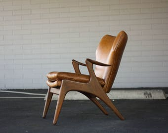 Mid Century Kurt Ostervig Leather Lounge Chair