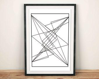 Prisms Collection Weft, Lines design, Minimal Illustration, Scandinavian Decor, Weft Illustration, Geometry Wall Art, Instant Download
