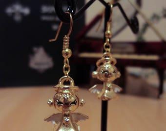 Earrings angel wing white enamel - Gold - 4 cm