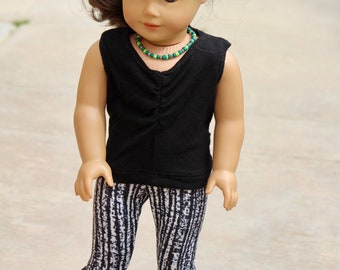 "18"" Doll Black and White Leggings and Black Crop Top to Fit Like American Girl Doll Clothes, 18"" Doll Clothes, 18 Inch Doll Leggings Outfit"