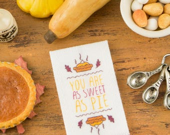 Pumpkin Pie Autumn Tea Towel - You Are As Sweet As Pie - 1:12 Dollhouse Miniature