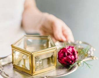 Wedding ring box, Ring bearer box, Geometric ring box, Geometric glass box, Ring pillow, Stained glass box, Wedding ring holder (JB14)