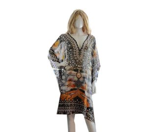 Short kaftan dress, plus caftans, plus size/regular size dress, beach kaftan digital print embellished caftan dress, abstract print
