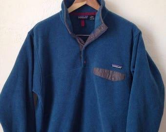 Vintage Patagonia Synchilla Men's Snap Pocket Pullover Fleece - Size Medium - Blue / Gray