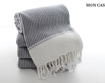 Chain | Turkish Bath Towel | Grey | White Turkish Towel | Peshtemal Towel | Bath Towel | Peshtemal | Super Soft | Mon Castle