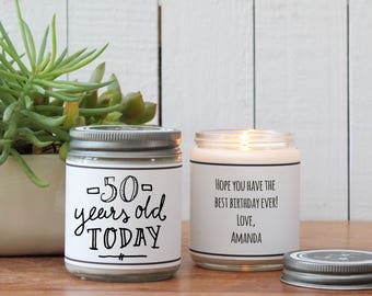 50th Birthday Gift Candle - Milestone Birthday Gift - ANY AGE | 50th Birthday Card | Send a Birthday Gift | Milestone Birthday Card